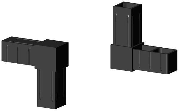 Winkel Verbinder für 25x25x2mm Profil. Farbe: schwarz