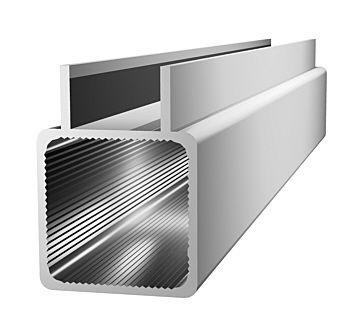 Aluminiumprofil 25x25x1,5mm mit Doppelsteg -(Nut 16mm) - silbere
