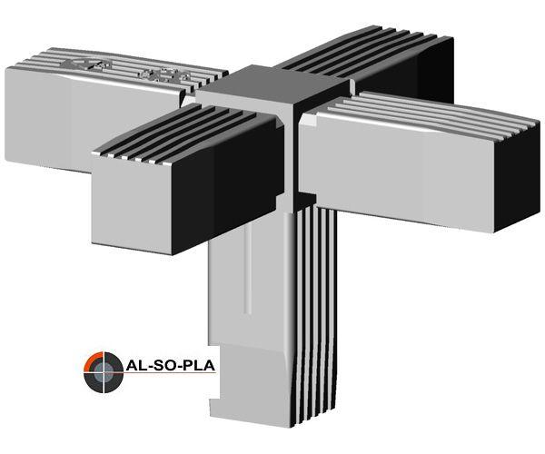 5er Verbinder für 25mm Profil grau