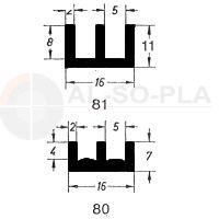 Schiebetürprofil 4mm - braun - unten