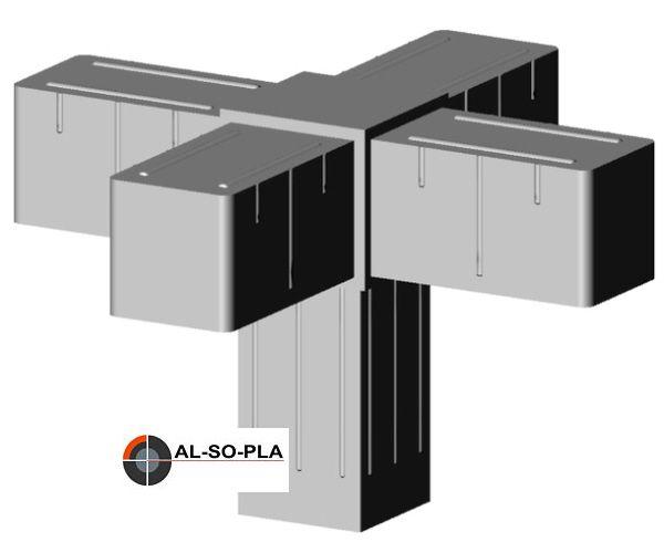 5er Verbinder Kunststoff für 20mm Profil - grau