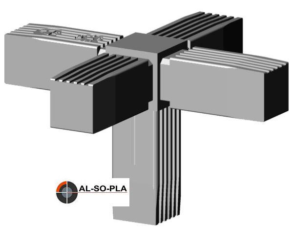 5er Verbinder für 25mm Profil grau 9006