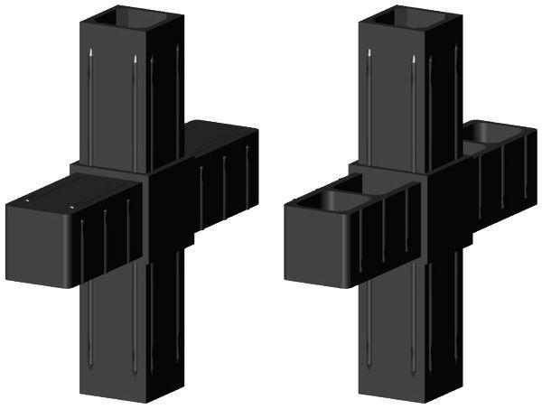 Kreuzverbinder für 25x25x2mm Profil Farbe: schwarz