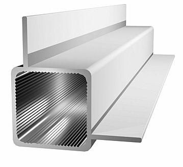 Aluminiumprofil 25x25x1,5mm mit 2 Stegen - Ecke - silbereloxiert.